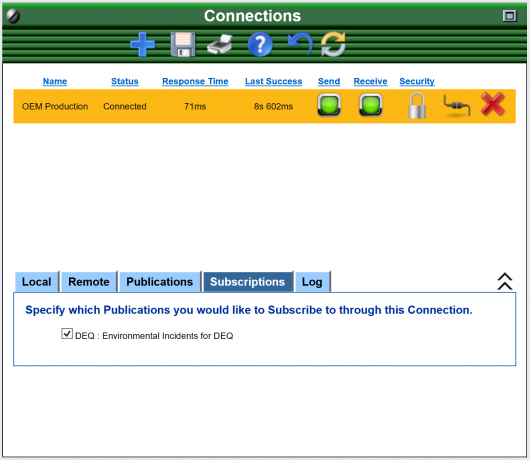 OpsCenter Connections Screen from Subscribing System